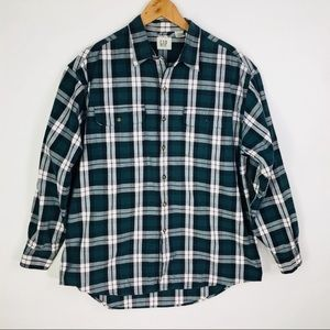 GAP Green Plaid Cotton Button Up Shirt Heavy Large